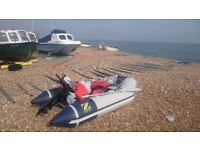 zodiac cadet 270 dinghy with mariner engine, bag, paddles and anchor