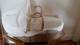 Mamas & Papas Moses Basket with Stand, mattress, blanket and mattress cover *REDUCED*