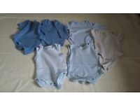 6 Boys Bodysuits/Vests First Size and Newborn