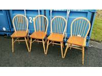 Nice set of solid pine farmhouse spindle back dining chairs. Ideal for shabby chic upcycle