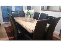 Marble dining table and 8 chairs