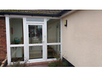 white upvc front door two side windows & one end panel
