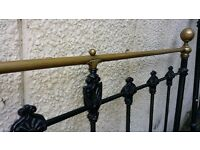 Victorian Vintage double bed cast iron and brass