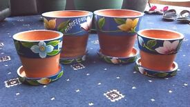 Hand Painted Terracotta Plant Pots - 2 'sets' (Fair Trade from Traidcraft)