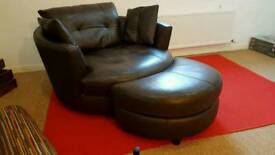 Large leather swivel chair with footstool premium dark brown leather