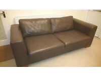 3 seater leather sofa bed with sprung mattress