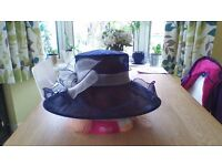 Navy Blue with cream bow organza Wedding Hat Mother Of The Bride/Groom Races