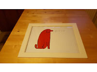 Red dog print in frame by Andy Warhol £5