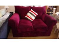 Nearly new contemporary velour settee wine colour hardly used Grab A Baragain!!! Only £75