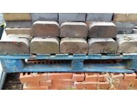 Half round blue reclaimed bricks