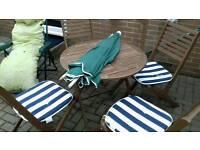 Garden table chairs + cushions +unberella