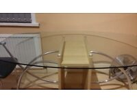 Italian Glass Dining Table & 4 Chairs Excellent Condition
