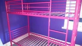 Bunk bed for girls. Pink metal