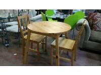 Small pine table with 2 chairs