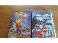 Batman and Spiderman dvds.