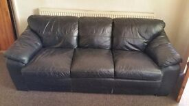 3 SEATER LEATHER SETTEE AND LEATHER CHAIR