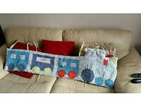 Baby boys cot bumper set with matching quilt and blanket