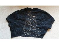 Floral black lace bollero, short sleeve SIZE S/M