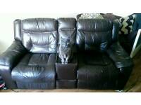 Brown Dfs electric recliner with storage