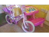 Princess push bike and Princess drawing table