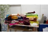 Fabric lots of large pieces velvet, lycra, airtext, felts, cotton. 2-6m pieces