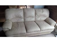 FREE! Cream Leather 3-seat Sofa Pick up Only