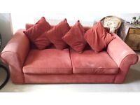 John Lewis 3 Seater Sofa (Raspberry) - Collection Only