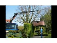 Flatbed crane lorry for hire.