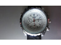 BREITLING NAVITIMER MENS WATCH WHITE WITH RUBBER BREITLING STRAP