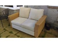 QUALITY,NATURAL RATTAN,WICKER GARDEN,PATIO,CONSERVATORY, SOFA,COST £250 WHEN NEW