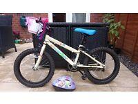 "Apollo Woodland Charm bike & cycle helmet. 18"" wheels. Extras include basket & bell."