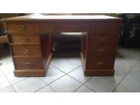 Antique Leather Topped Oak Writing Desk, Good Condition.