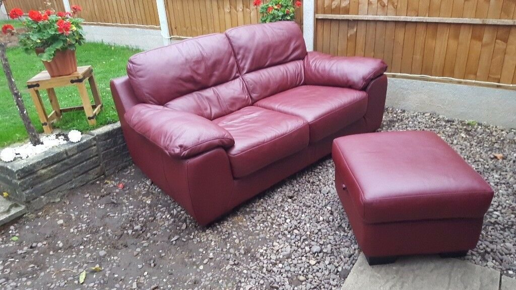Red leather large sofa and footstool with storage