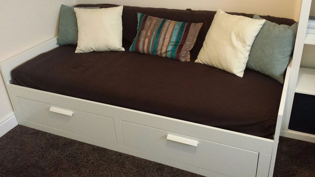 Day bed frame with 2 drawers including 2 mattresses for Brimnes daybed ikea