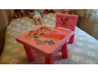 Kids Minnie mouse table and chair
