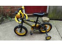 Kids first bike with stabilisers and helmet