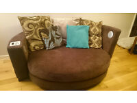 4 Seater corner and 2 seater cuddler (music) chair with foot stool
