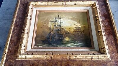 Exceptional Vintage Framed Marine Oil Painting Tall Ships, Signed – Dumont