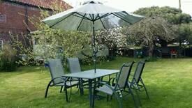 Large Glass & aliminum Garden Table ~ 4 adjustable Chairs ~umbrella & base