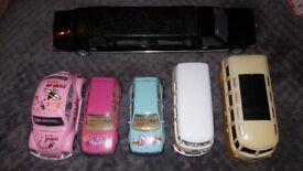 6 toy cars including 2 VW campervan toys