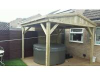 Wooden Garden pergola hot tub shelter 2.7m x 2.7m