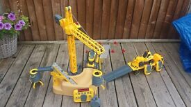 Remote control construction set with vehicles and crane