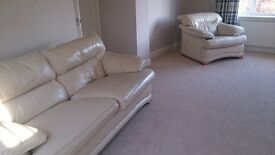 Cream Leather Sofa with Matching Arm Chair and Foot Stool
