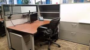 Office Work Stations  CLEARANCE! Delivered & Installed $700!*ONE DAY ONLY** Office Desk, file cabinet, table, chair