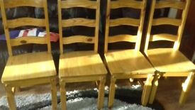 5 X 3 Solid Pine Table and 4 Chairs