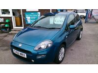 2012 (62) FIAT PUNTO 1.4 EASY 3 DOOR HATCH BLUE SEPT 2017 MOT 70K F/S/H CD ALLOYS R/C/L 2 KEYS E/W