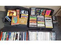 JOB LOT Collection of 91 audio/music tapes - Soundtracks, Gospel, Pop, Reggae, Rock & 4 carry cases