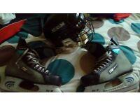 Helmet and skates