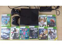 Xbox 360 250gb console (boxed) with 2 wireless controllers and 9 games, excellent condition.