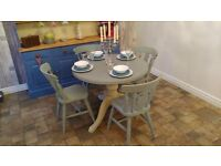 Lovely Solid Pine 4 seater Dining table in Duck Egg blue and Old Ochre